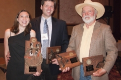 Lariat Award Winner Leah Hultenschmidt and Don D'Aura for Leisure Books (Dorchester Publishing Co.), with Spur Awards winner John D. Nesbitt Spur Awards Banquet, 2010 Western Writers of America Convention, Knoxville, Tennessee, USA