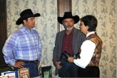 John, C.J. Box, and Candy Moulton at an author event in Cheyenne in 1998.